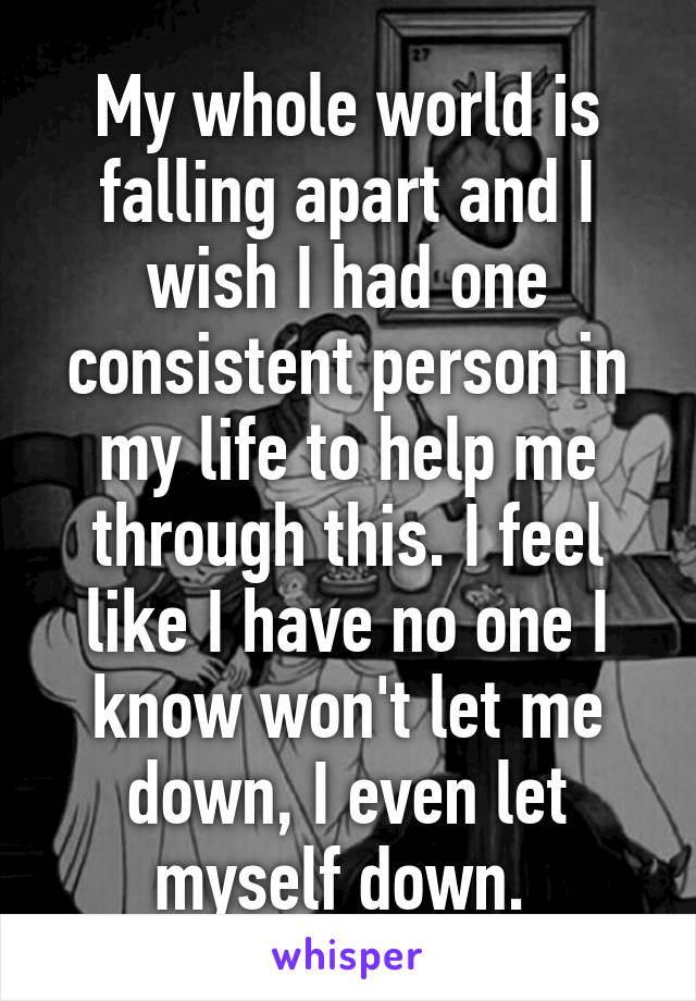 My whole world is falling apart and I wish I had one consistent person in my life to help me through this. I feel like I have no one I know won't let me down, I even let myself down.