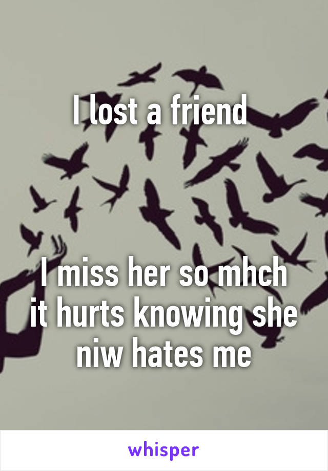 I lost a friend     I miss her so mhch it hurts knowing she niw hates me