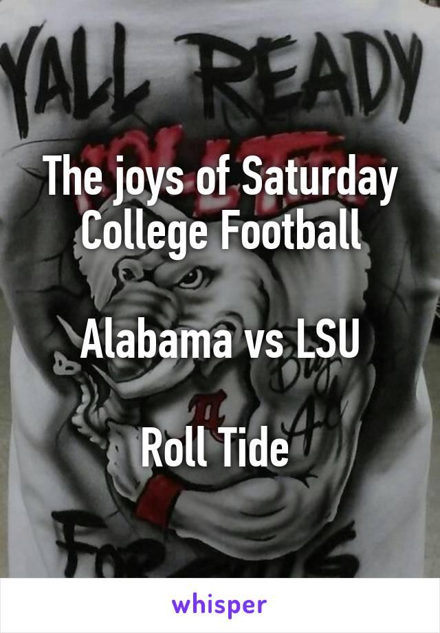 The joys of Saturday College Football  Alabama vs LSU  Roll Tide