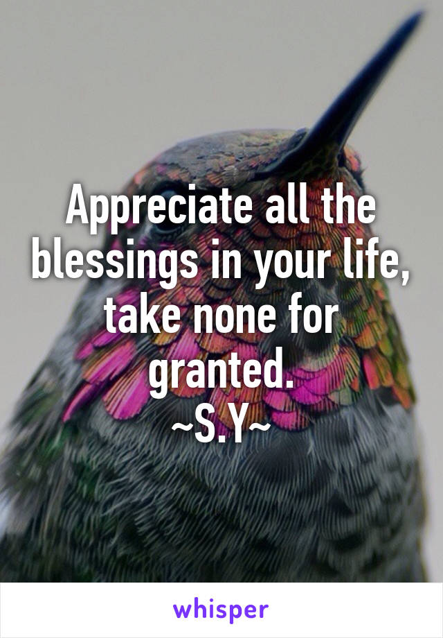 Appreciate all the blessings in your life, take none for granted. ~S.Y~
