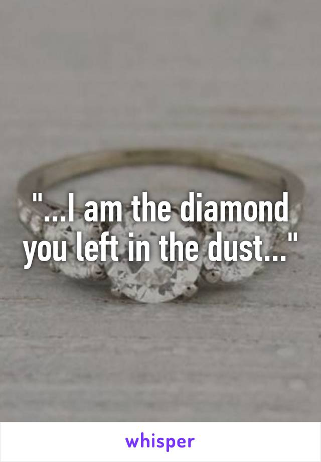 """""""...I am the diamond you left in the dust..."""""""