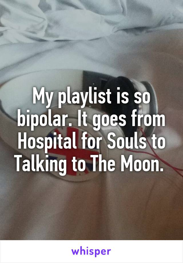 My playlist is so bipolar. It goes from Hospital for Souls to Talking to The Moon.