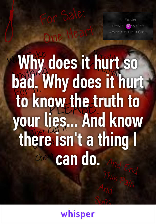Why does it hurt so bad. Why does it hurt to know the truth to your lies... And know there isn't a thing I can do.