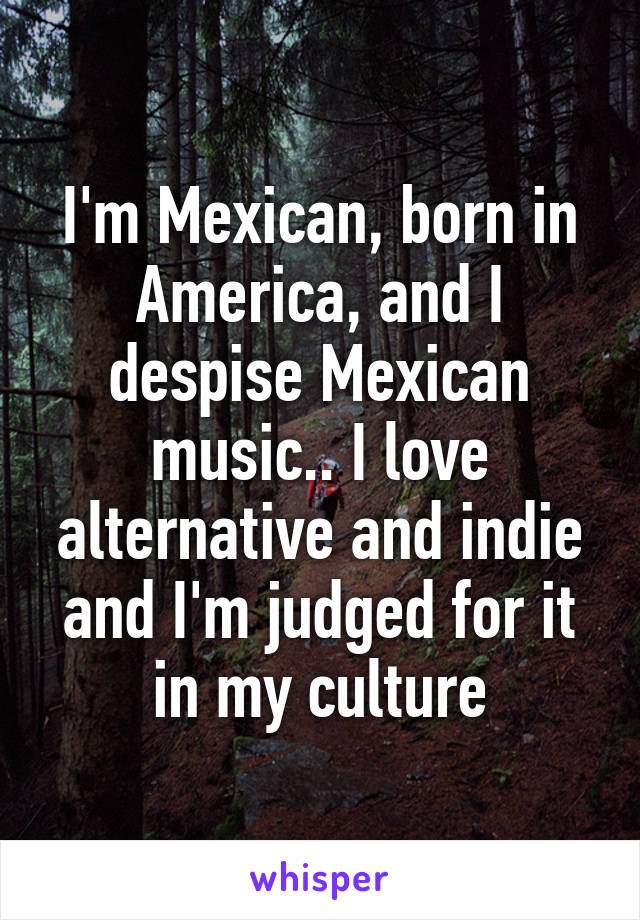 I'm Mexican, born in America, and I despise Mexican music.. I love alternative and indie and I'm judged for it in my culture