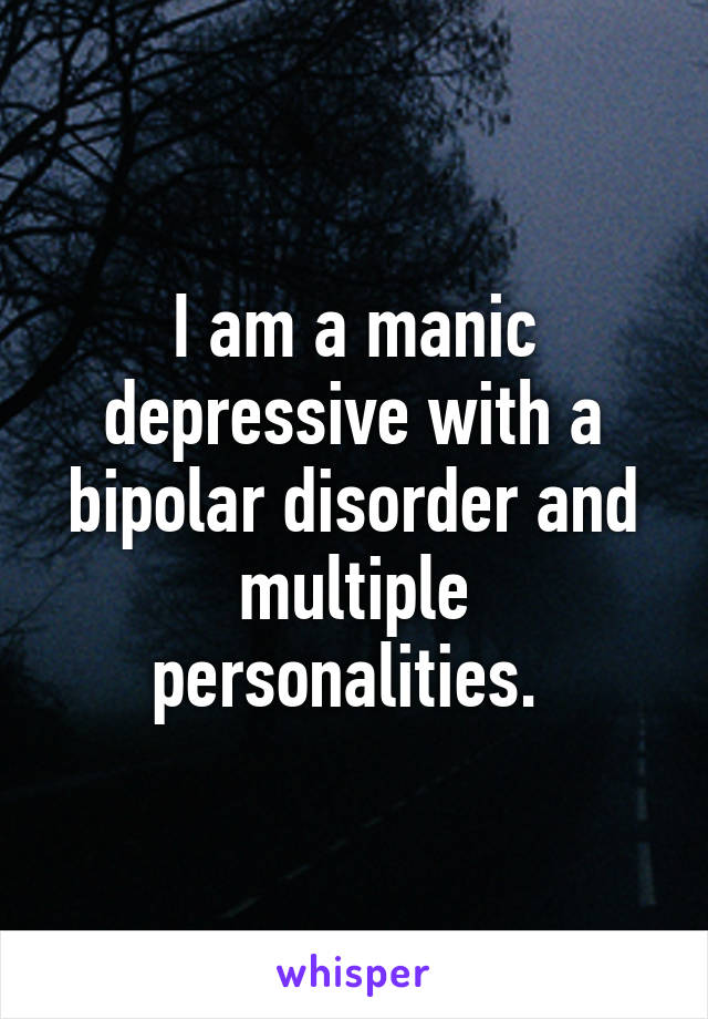 I am a manic depressive with a bipolar disorder and multiple personalities.