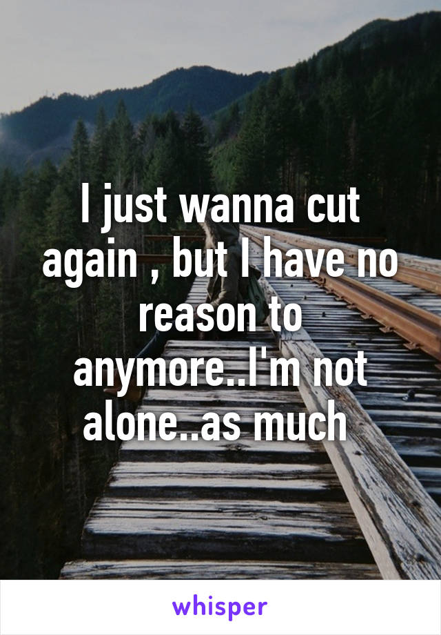 I just wanna cut again , but I have no reason to anymore..I'm not alone..as much