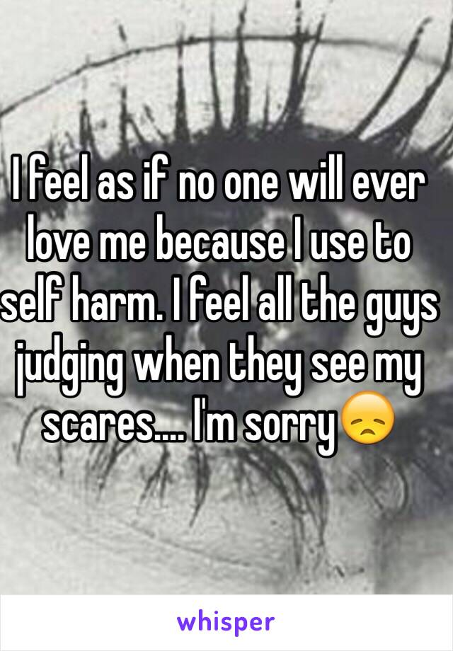 I feel as if no one will ever love me because I use to self harm. I feel all the guys judging when they see my scares.... I'm sorry😞