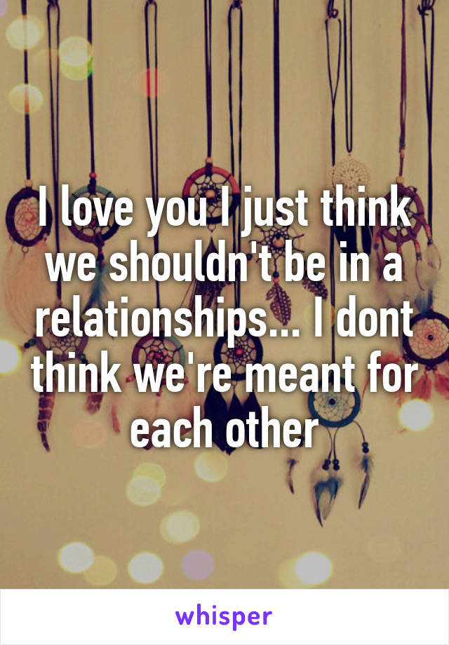 I love you I just think we shouldn't be in a relationships... I dont think we're meant for each other