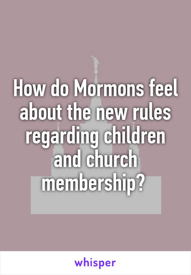 How do Mormons feel about the new rules regarding children and church membership?