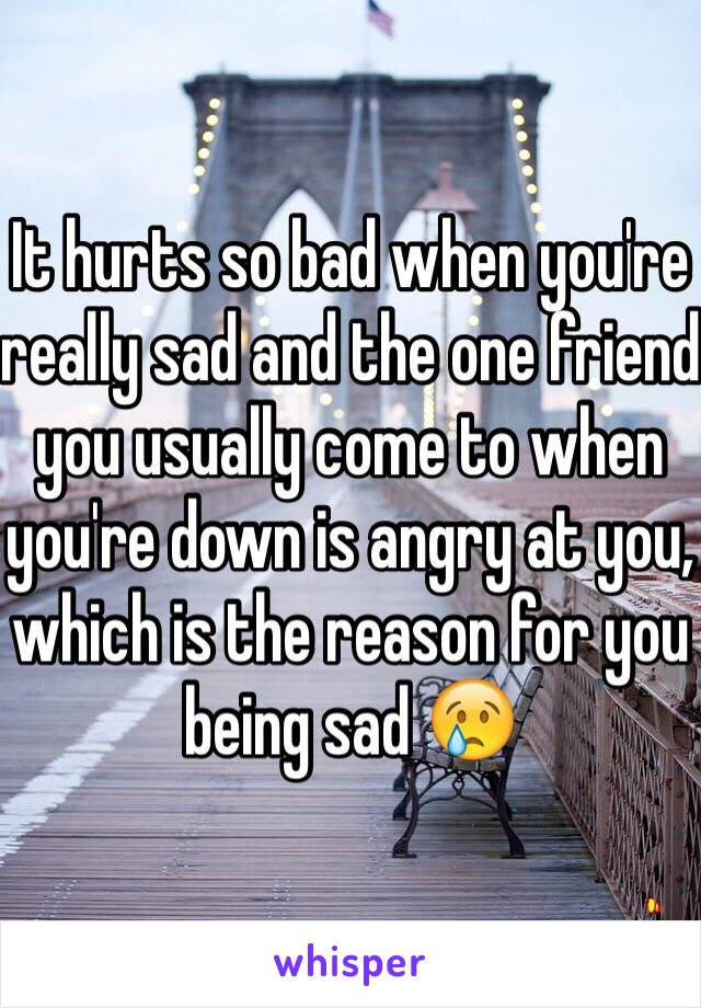 It hurts so bad when you're really sad and the one friend you usually come to when you're down is angry at you, which is the reason for you being sad 😢