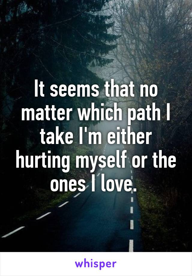 It seems that no matter which path I take I'm either hurting myself or the ones I love.