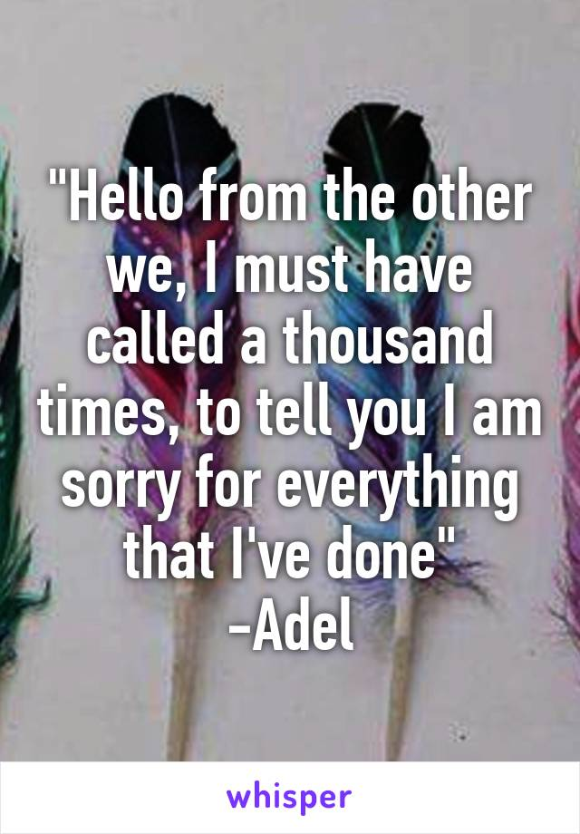"""""""Hello from the other we, I must have called a thousand times, to tell you I am sorry for everything that I've done"""" -Adel"""