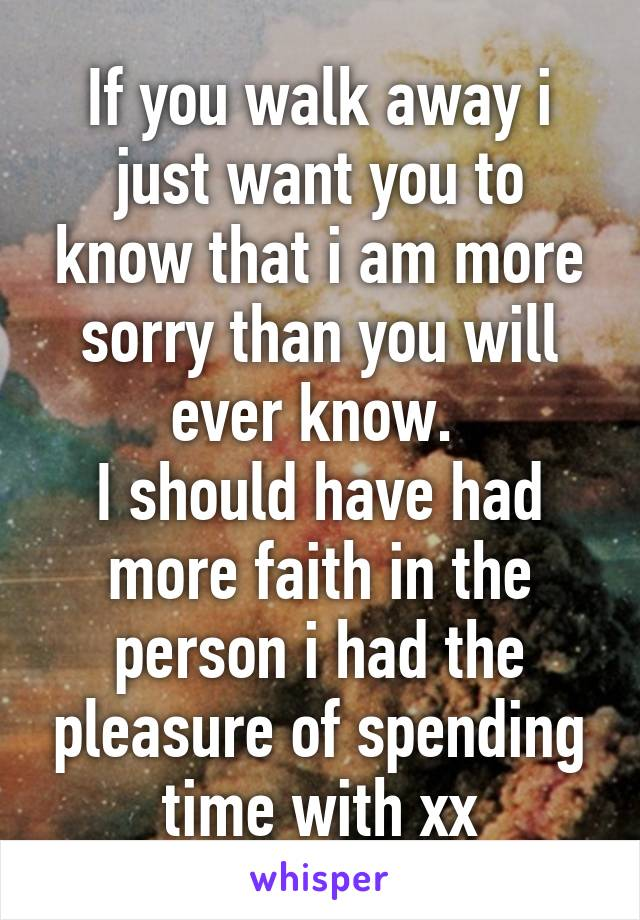 If you walk away i just want you to know that i am more sorry than you will ever know.  I should have had more faith in the person i had the pleasure of spending time with xx