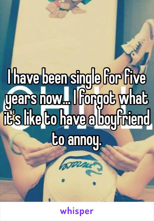 I have been single for five years now... I forgot what it's like to have a boyfriend to annoy.