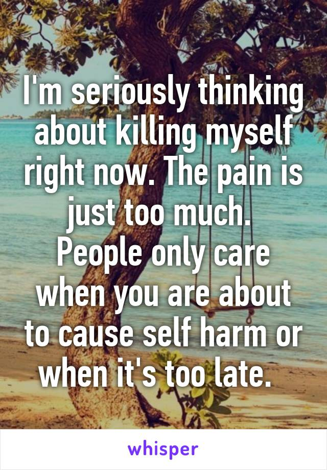I'm seriously thinking about killing myself right now. The pain is just too much.  People only care when you are about to cause self harm or when it's too late.