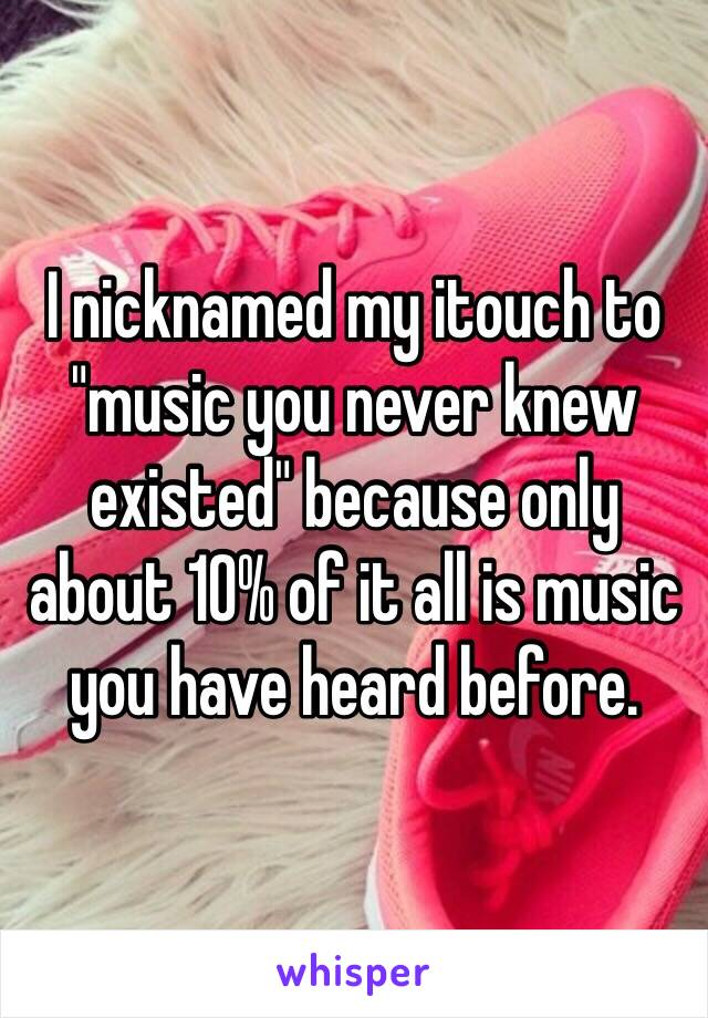 """I nicknamed my itouch to """"music you never knew existed"""" because only about 10% of it all is music you have heard before."""