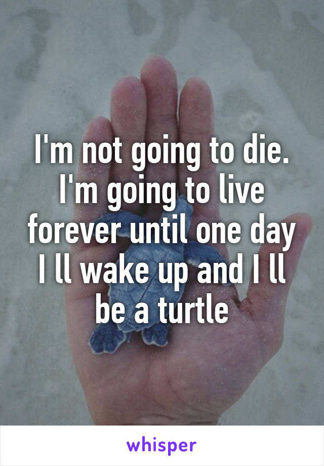 I'm not going to die. I'm going to live forever until one day I ll wake up and I ll be a turtle
