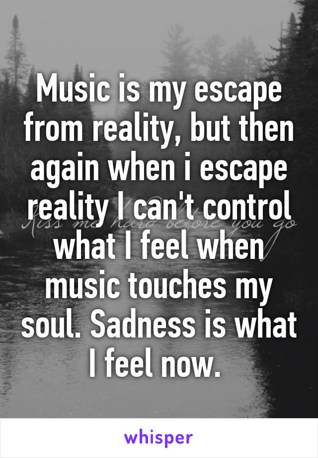 Music is my escape from reality, but then again when i escape reality I can't control what I feel when music touches my soul. Sadness is what I feel now.
