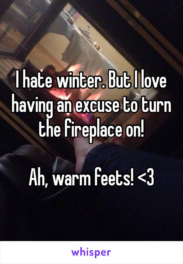 I hate winter. But I love having an excuse to turn the fireplace on!  Ah, warm feets! <3