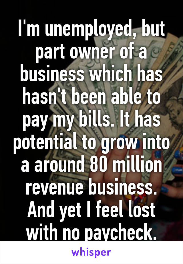 I'm unemployed, but part owner of a business which has hasn't been able to pay my bills. It has potential to grow into a around 80 million revenue business. And yet I feel lost with no paycheck.