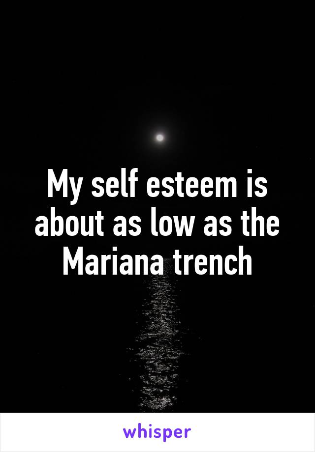 My self esteem is about as low as the Mariana trench