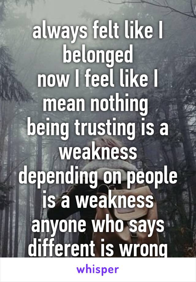 always felt like I belonged now I feel like I mean nothing  being trusting is a weakness depending on people is a weakness anyone who says different is wrong