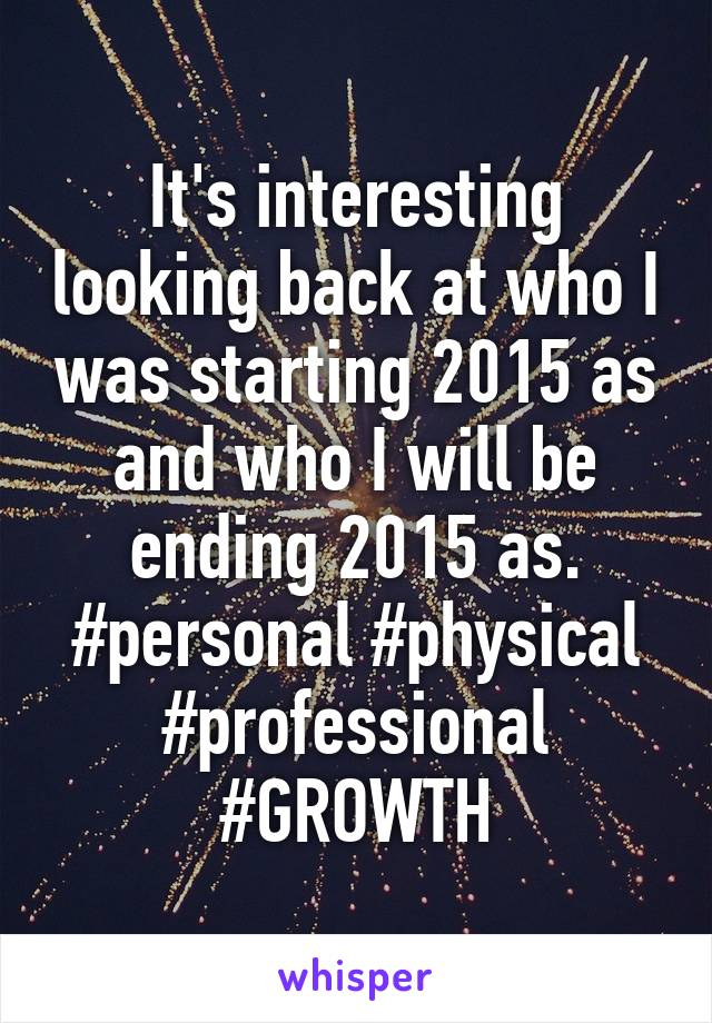 It's interesting looking back at who I was starting 2015 as and who I will be ending 2015 as. #personal #physical #professional #GROWTH