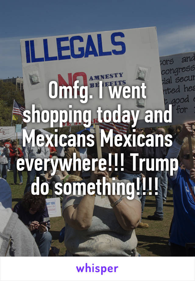 Omfg. I went shopping today and Mexicans Mexicans everywhere!!! Trump do something!!!!