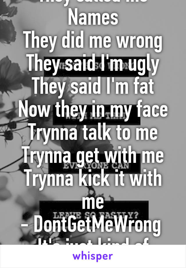They called me Names They did me wrong They said I'm ugly They said I'm fat Now they in my face Trynna talk to me Trynna get with me Trynna kick it with me - DontGetMeWrong  It's just kind of funny!!!