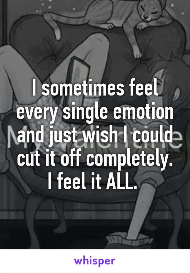 I sometimes feel every single emotion and just wish I could cut it off completely. I feel it ALL.