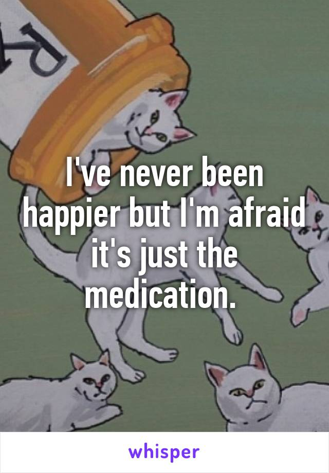 I've never been happier but I'm afraid it's just the medication.