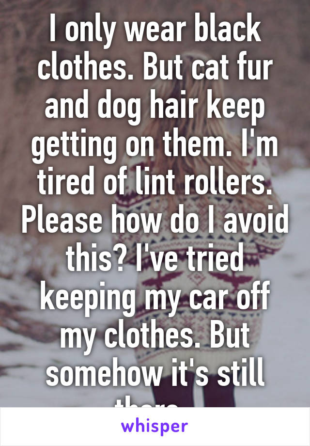 I only wear black clothes. But cat fur and dog hair keep getting on them. I'm tired of lint rollers. Please how do I avoid this? I've tried keeping my car off my clothes. But somehow it's still there.