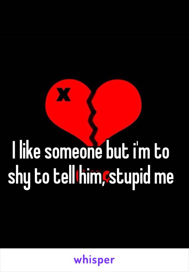 I like someone but i'm to shy to tell him, stupid me