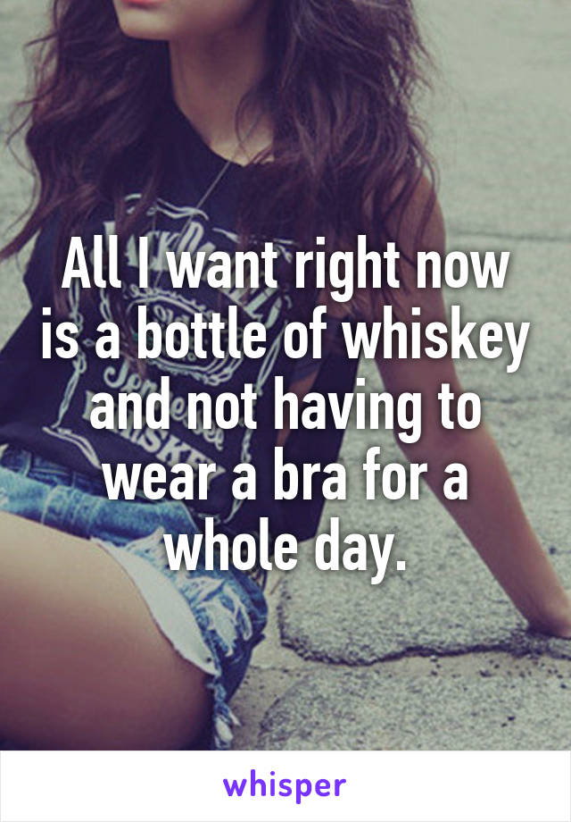 All I want right now is a bottle of whiskey and not having to wear a bra for a whole day.