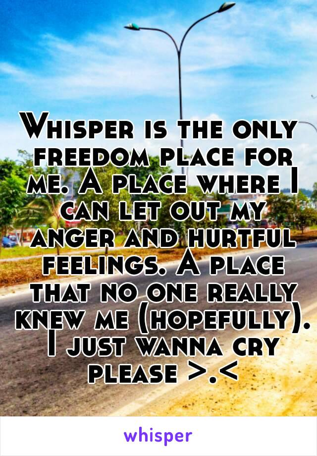 Whisper is the only freedom place for me. A place where I can let out my anger and hurtful feelings. A place that no one really knew me (hopefully). I just wanna cry please >.<