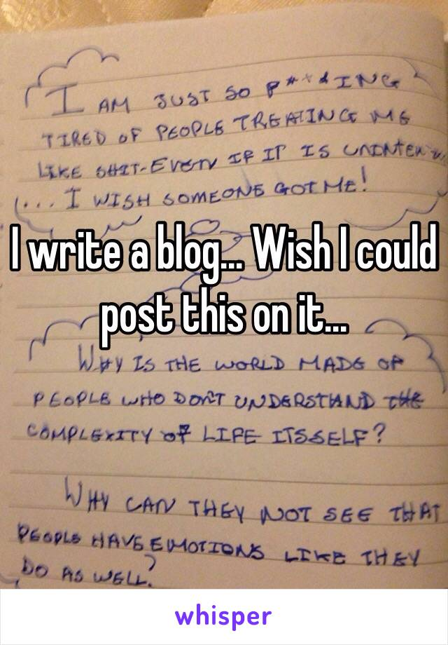 I write a blog... Wish I could post this on it...