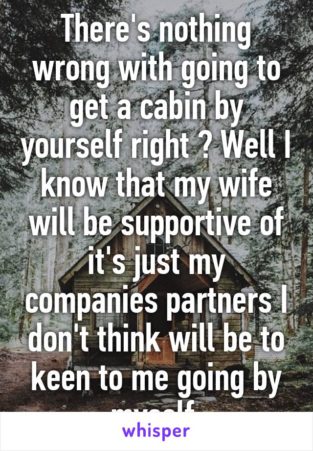 There's nothing wrong with going to get a cabin by yourself right ? Well I know that my wife will be supportive of it's just my companies partners I don't think will be to keen to me going by myself.