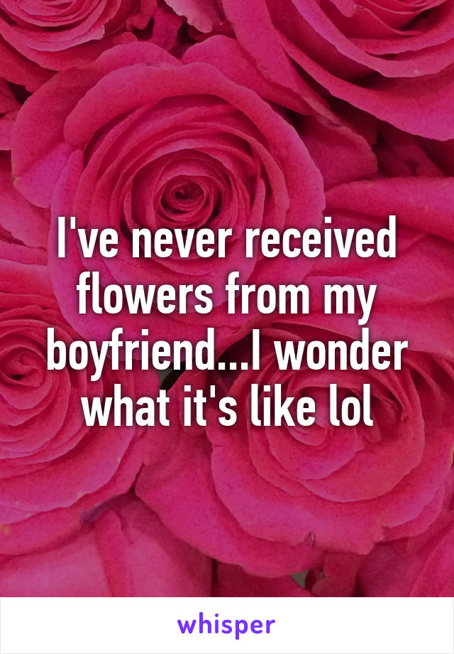 I've never received flowers from my boyfriend...I wonder what it's like lol