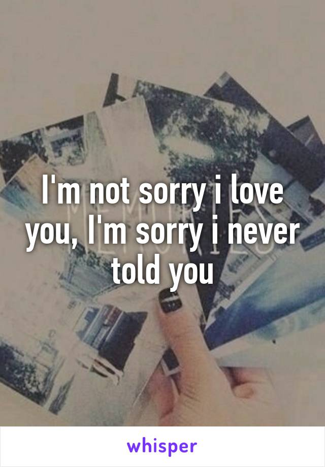 I'm not sorry i love you, I'm sorry i never told you