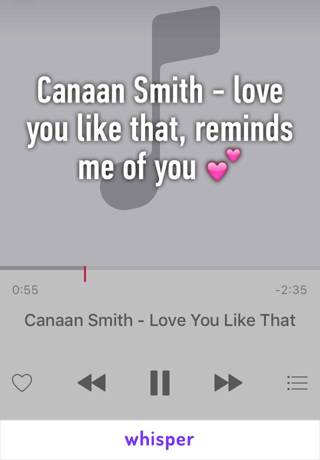 Canaan Smith - love you like that, reminds me of you 💕