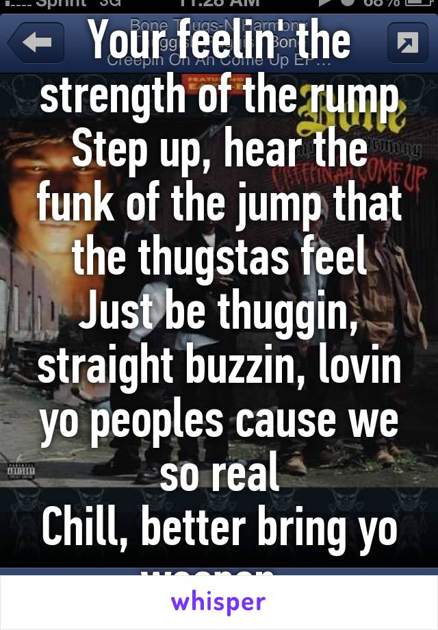 Your feelin' the strength of the rump Step up, hear the funk of the jump that the thugstas feel Just be thuggin, straight buzzin, lovin yo peoples cause we so real Chill, better bring yo weapon,