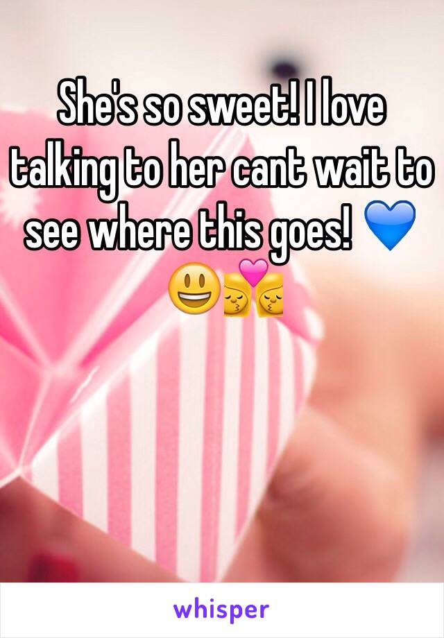 She's so sweet! I love talking to her cant wait to see where this goes! 💙😃👩‍❤️‍💋‍👩