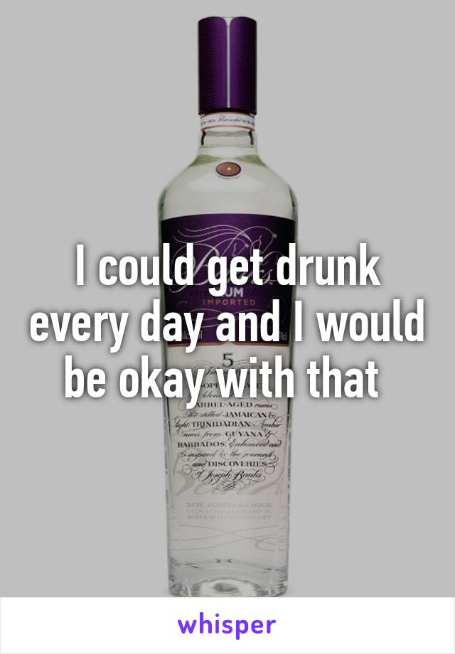 I could get drunk every day and I would be okay with that