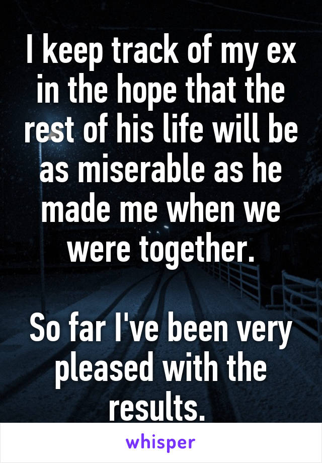 I keep track of my ex in the hope that the rest of his life will be as miserable as he made me when we were together.  So far I've been very pleased with the results.