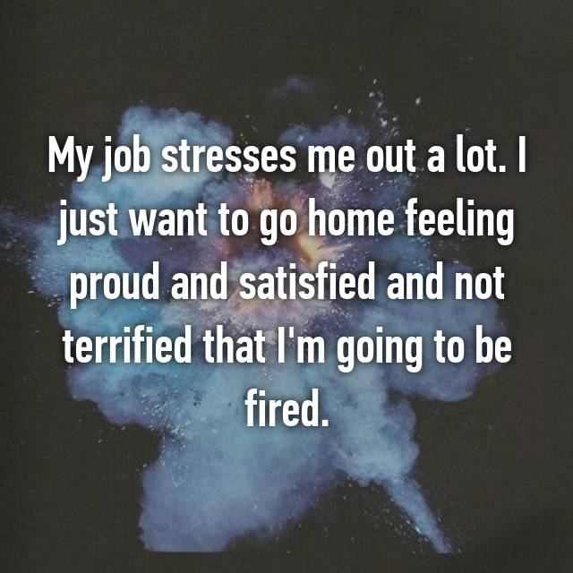 My job stresses me out a lot. I just want to go home feeling proud and satisfied and not terrified that I'm going to be fired.