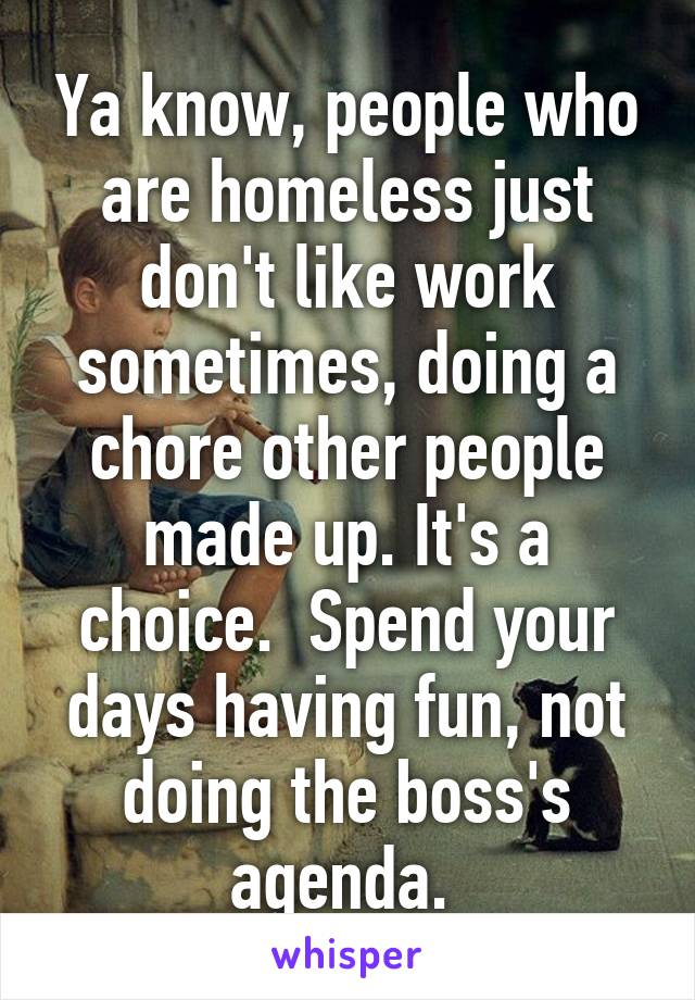 Ya know, people who are homeless just don't like work sometimes, doing a chore other people made up. It's a choice.  Spend your days having fun, not doing the boss's agenda.