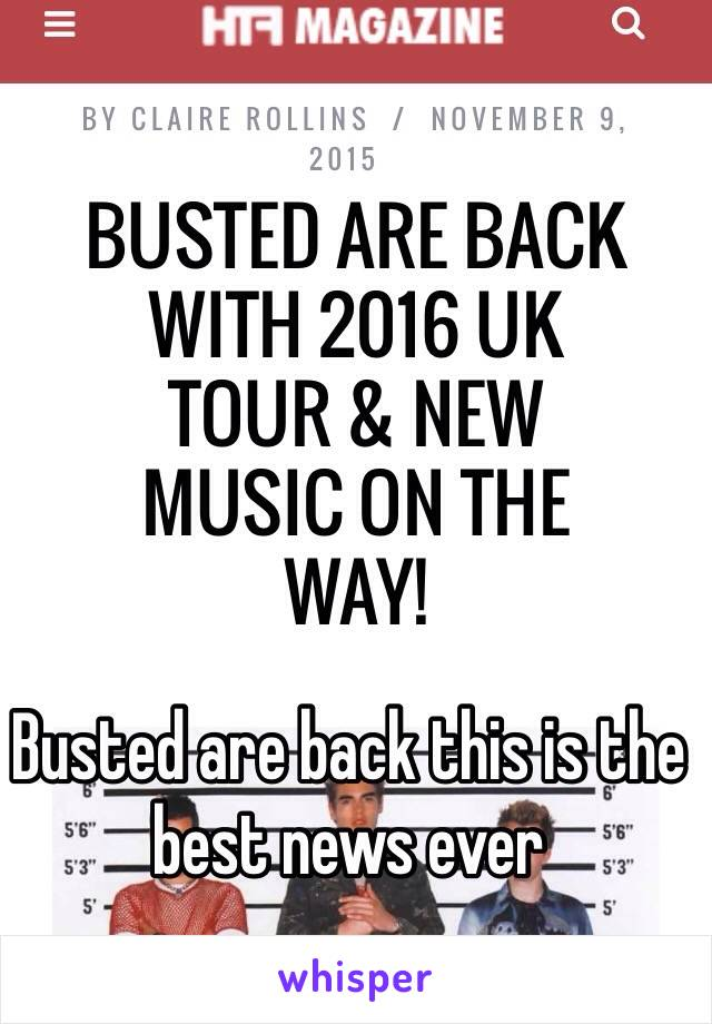 Busted are back this is the best news ever