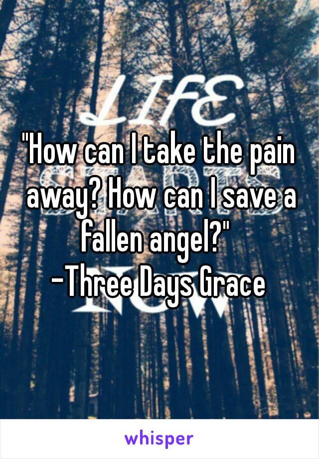 """""""How can I take the pain away? How can I save a fallen angel?""""   -Three Days Grace"""