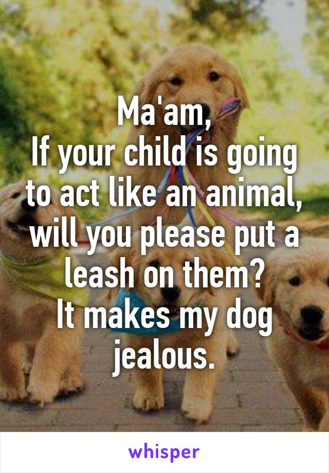 Ma'am, If your child is going to act like an animal, will you please put a leash on them? It makes my dog jealous.