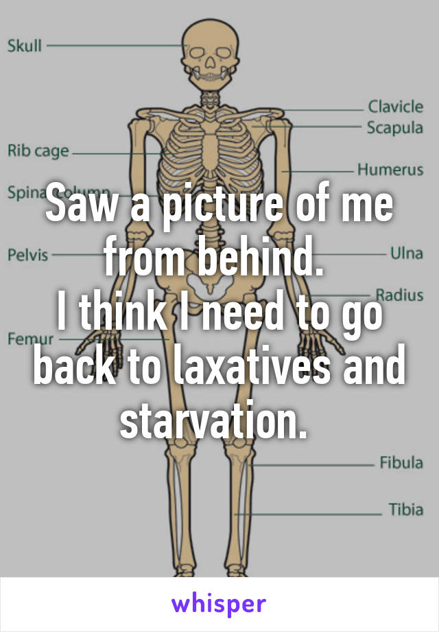 Saw a picture of me from behind.  I think I need to go back to laxatives and starvation.